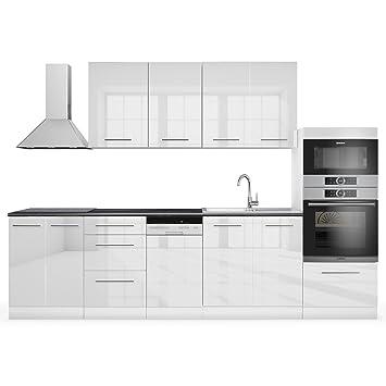 Vicco küche 295 cm küchenzeile küchenblock einbauküche weiß hochglanz vollmetall soft close scharniere