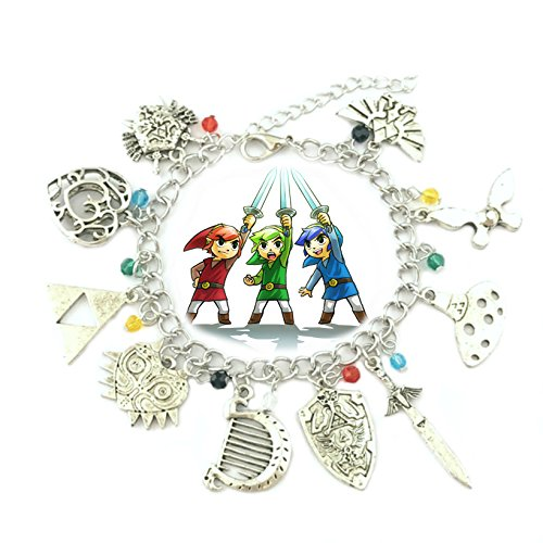 Legend of Zelda 10 Charms Lobster Clasp Bracelet in Gift Box by Superheroes -
