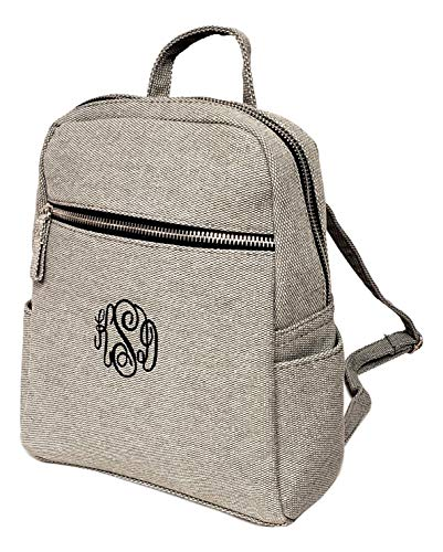 Sona G Designs Mini Casual Travel Day-Pack Backpack Purse (Embroidered Monogram - Light Gray)