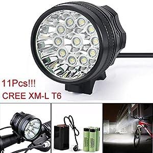 Lumière de vélo,Internet 28000 Lumens Tactical LED 11x CREE XM-L T6 Lumière de bicyclette Super Bright militaire de grade étanche titulaire lampe frontale 3 Modes+8.4V Bloc-piles+Bande de tête+chargeur