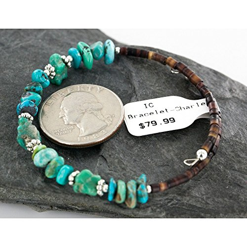 $80 Retail Tag Authentic Made by Charlene Little Navajo Turquoise Native American WRAP Bracelet