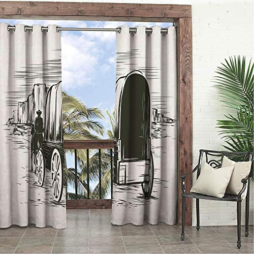 - Linhomedecor Balcony Waterproof Curtains Western Old Traditional Wagon Wild West Prairies Pioneer on Horse Transportation Cart Black and White Porch Grommets Print Curtain 84 by 96 inch