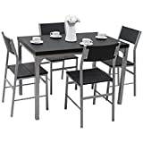 Tangkula Dining Table Set 5 Piece Wood Metal Home Kitchen Breakfast Furniture Table and Chairs