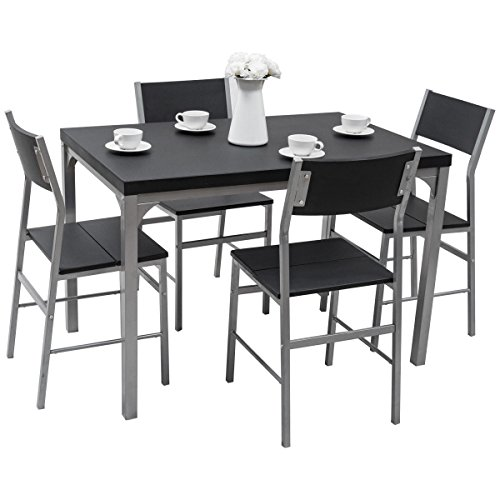 Tangkula Dining Table Set 5 Piece Wood Metal Home Kitchen Breakfast Furniture Table and Chairs by Tangkula