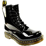 Womens Dr Martens 1460 W 8 Eyelet Patent Lamper Army Combat Lace Up Boot - Black - 10