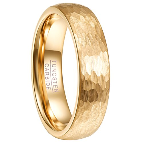 - Nuncad Tungsten Ring 6mm Hammered Finish Gold Plated Comfort Fit Domed Wedding Band for Men Women Size 11