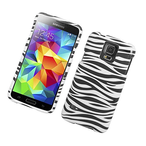 Insten Zebra Rubberized Hard Snap-in Case Cover Compatible with Samsung Galaxy S5 SM-G900, Black/White