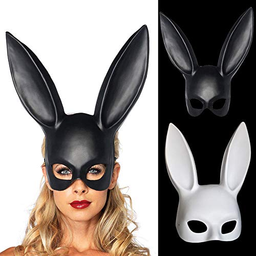 Kerocy Bunny Mask, Women's Masquerade Rabbit Mask for Birthday Easter Halloween Eve Party Costume Accessory 2 Pack -