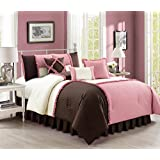 Emiko by Chezmoi Collection Luxury Ruffles Patchwork Rose Pink/Brown/Ivory Bedding Comforter Set, California King