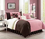 Emiko by Chezmoi Collection Luxury Ruffles Patchwork Rose Pink/Brown/Ivory Bedding Comforter Set, King
