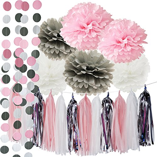First Birthday Decorations Girl Baby Pink Grey Baby Girl Baby Shower/ Party Decorations Tissue Paper Pom Pom Tassel Garland Circle Paper Garland Elephant Baby Shower Decorations
