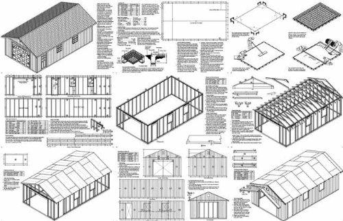 16' X 28' Car Garage/workshop Project Plans -Design #51628