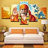 [LARGE] Premium Quality Canvas Printed Wall Art Poster 5 Pieces / 5 Pannel Wall Decor Sai Baba Painting, Home Decor Pictures - With Wooden Frame