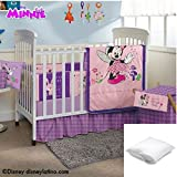 Disney Minnie 5-Pc Basic Crib Beding Set Crib size Bundled with One Pillow Protector