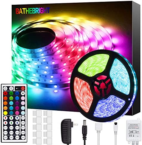 Bathebright led Strip Lights 16.4ft, RGB Color Changing for Bedroom, Room, Kitchen, Ceiling with 44 Keys Remote Control