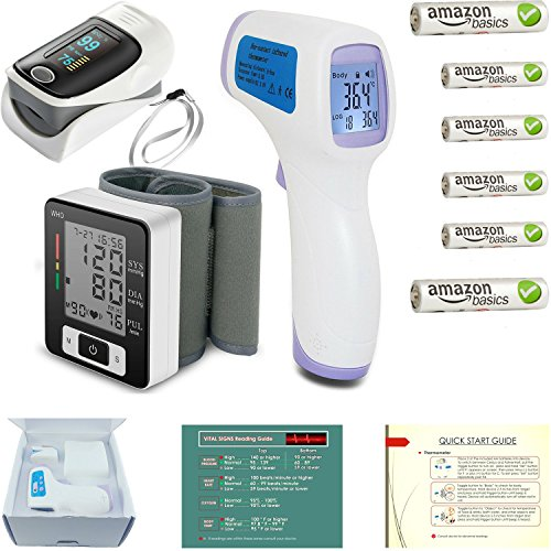 Pulse Oximeter Fingertip + Blood Pressure Monitor + Infrared Adult - Baby Thermometer