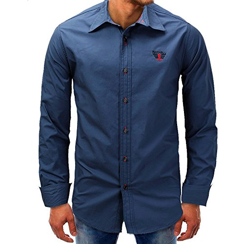Men Tops Blouses Hot WEUIE Men Long-Sleeve Beefy Button Basic Solid Blouse Tee Shirt Top (M,Dark Blue) by WEUIE