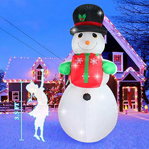 Fanshunlite Christmas Inflatable 8 FT Snowman with Hat Lighted Blow-Up Yard Party Decoration for Xmas Airblown Inflatable Outdoor Indoor Home Garden Family Prop Yard from Fanshunlite