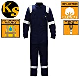 KwikSafety Deluxe High Viz Long Sleeve Safety Coveralls | Construction Maintenance Painters Work Gardening | Premium Jumpsuit with 3M Reflective Tape and Utility Pockets | Navy Blue Men & Women XL