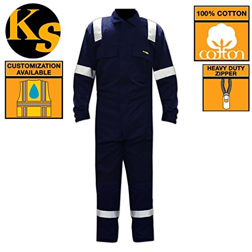 [KwikSafety Deluxe High Viz Long Sleeve Safety Coveralls   Construction Maintenance Painters Work Gardening   Premium Jumpsuit with 3M Reflective Tape and Utility Pockets   Navy Blue Men & Women] (First Responders Costumes)
