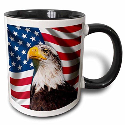 3dRose American Flag USA Bald Eagle Patriotism Patriotic Stars Stripes - Two Tone Black Mug, 11oz (mug_155153_4), 11 oz, Black/White