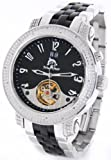 Mens Techno Master Genuine Diamond Watch Automatic Movement Stainless Steel w/ 2 Interchangeable Watch Bands #TM-2108H2