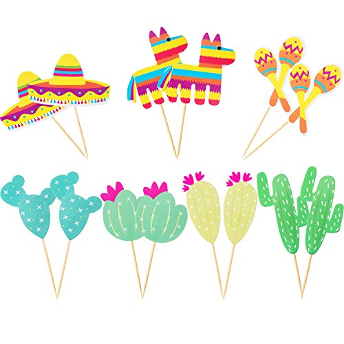 Boao 70 Pieces Decorative Cupcake Toppers Mexican Custom Pattern Cake Toppers Maraca Sombrero Cactus Party Cake Picks Decor Set