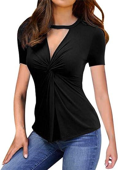 Camisas de Mujer Camisa Casual de Manga Corta con Cuello en V de Manga Larga Tops de Blusa Tops de Moda Camisas de Mujer cómodas: Amazon.es: Ropa y accesorios