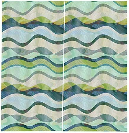 QinKingstore 波パターン2ピース/セット150×166センチウィンドウカーテン用ホームキッチンリビングルームベッドルームウィンドウ装飾