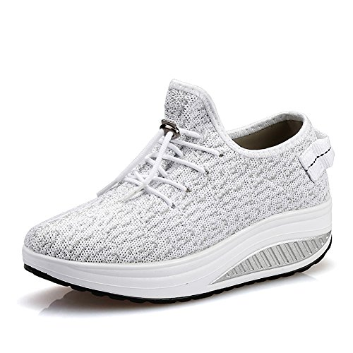 JARLIF Women's Platform Wedges Tennis Walking Sneakers