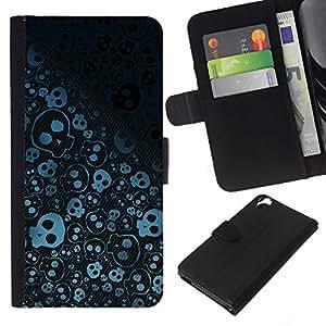 All Phone Most Case / Oferta Especial Cáscara Funda de cuero Monedero Cubierta de proteccion Caso / Wallet Case for HTC Desire 820 // Wallpaper Skulls Skeleton Drawing Sketch