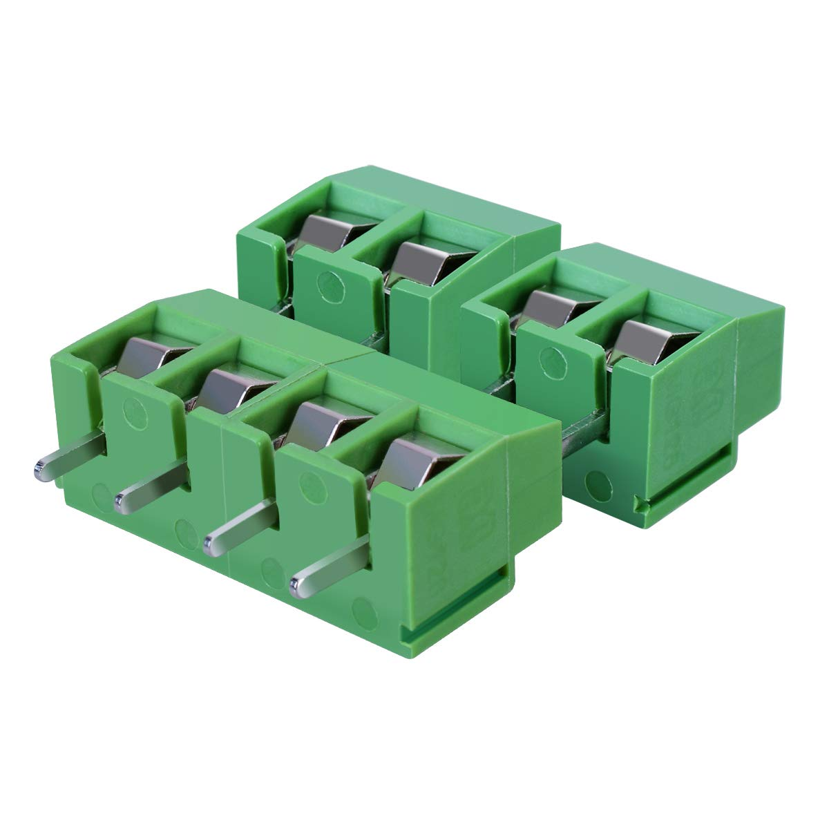 TankerStreet 50PCS PCB 2 Pins Mount Screw Terminal Block Connector 5mm Pitch 300V 10A Green Assortment Kit for Prototype Breadboards Protoshield Control Cabinets Junction Boxes AHGRD014064