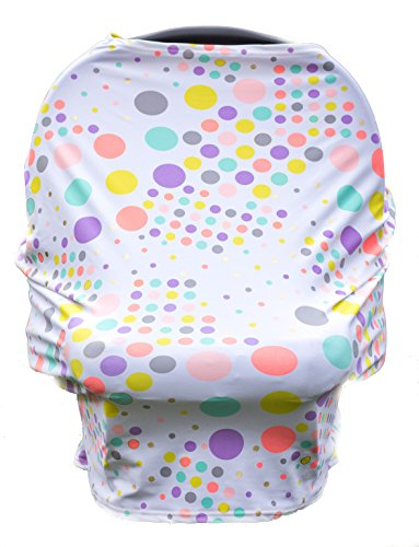 Carseat Cover Straps Covers, Carseat cover for Baby, Nursing Cover Canopies_Rainbow Polka Dot