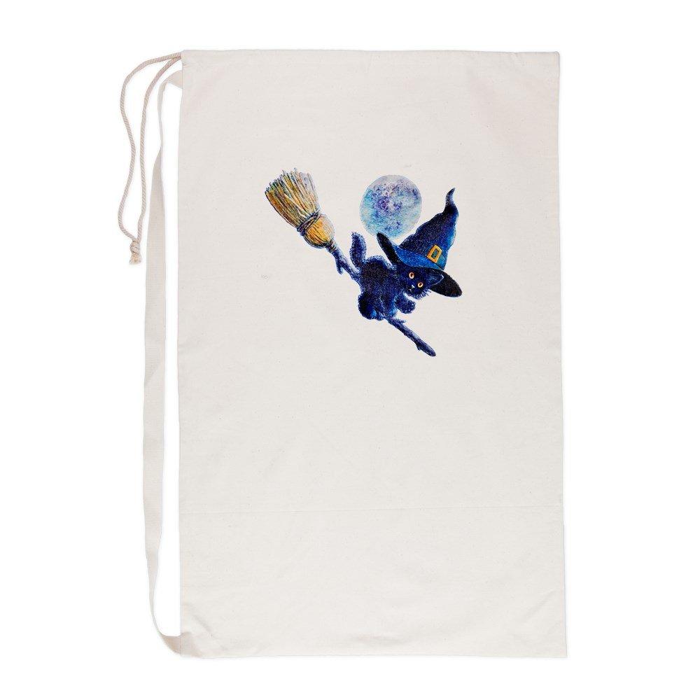 Laundry Bag Halloween Kitten Witch Broom Moon