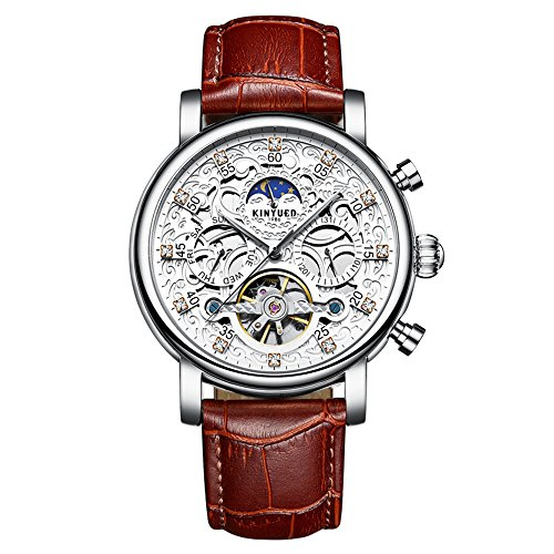 (Swiss Tourbillon Skeleton Automatic Watch for Men's Multi-Function Mechanical Leather Band Watch (White Silver)