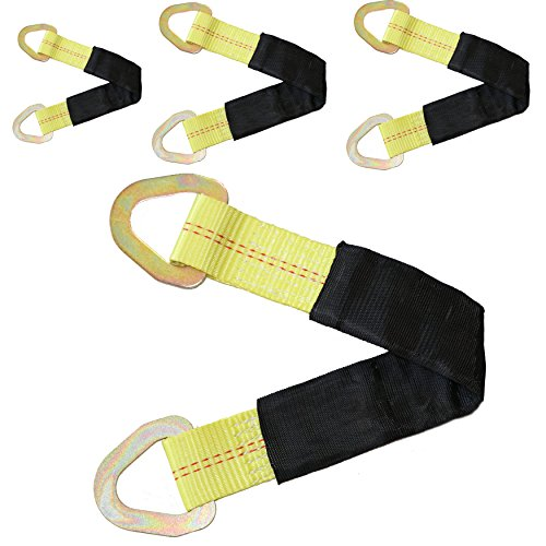 DKG-400 2'' X 18'' Tie Down Tow Axle Strap with D Ring – Pack of 4 Cargo Torsion Axle Straps – Extra Sleeve Cushioning – High Tension Proof & Heavy-Duty Design (4 Pack) by DKG STRAPS