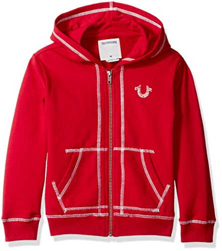 r Boys' French Terry Hoodie, Shoe String Bright Red, 2T ()