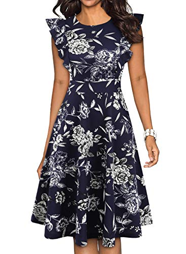 YATHON Women's A-Line Dress, Elegant Vintage Ruffles Sleeve O Neck Stretchy Knee-Length Navy White Floral Swing Casual Party Cocktail Dresses (S, YT001-Navy Floral 02)
