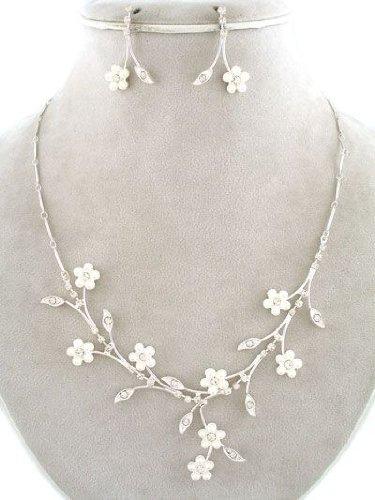 Schmuckset silber  Brautschmuck Schmuckset Silber Lifetime Perlen Blumen Weiß ...