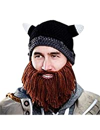 Changeshopping Men Women Kid Beard Wig Hats Handmade Knit Warm Winter Caps