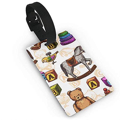 CoolToiletLidCoverCC Luggage Tags Holders for Travel Luggage,Toy Horse Bear Block Pattern Plastic PVC Luggage Tags Suitcase Labels Travel Bag ID Tags Size 2.2 X 3.7 inches (Best Geek Toys 2019)