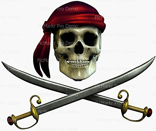 1/4 Sheet - Pirate Skull & Swords Halloween - Edible Cake/Cupcake Party Topper!!!