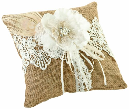 Lillian Rose Rustic Burlap Country Lace Wedding Ring Pillow
