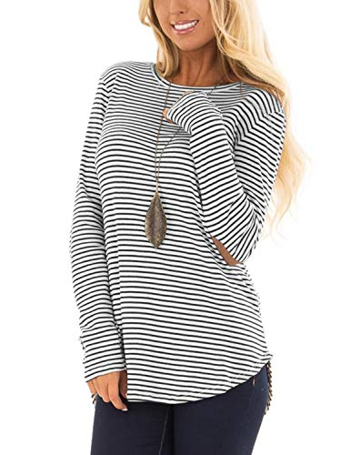 Blooming Jelly Womens Long Sleeve T Shirts Striped Crew Neck Elbow Patch Casual Tee Tops(XL,Striped) (Orange And White Striped Long Sleeve Shirt)