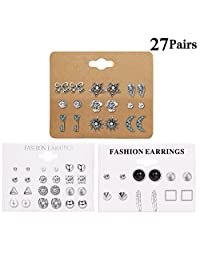 LOLIAS 27 Assorted Multiple Studs Earring Set for Women Girls Bohemia Retro Vintage Style Earrings Card pack