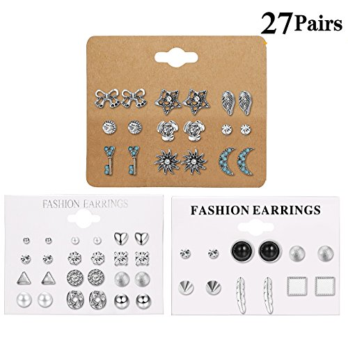 LOLIAS 27 Assorted Multiple Studs Earring Set for Women Girls Bohemia Retro Vintage Style Earrings Card pack