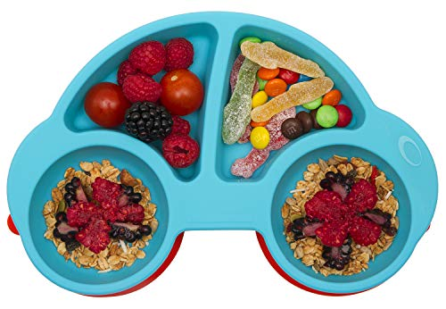Silicone Divided Toddler Plates - Portable Non Slip Suction Plates for Children Babies and Kids BPA Free FDA Approved Baby Dinner Plate