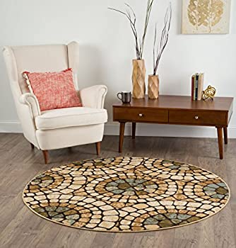 Universal Rugs Carlos Transitional Mosaic Multi-Color Round Area Rug, 8' Round