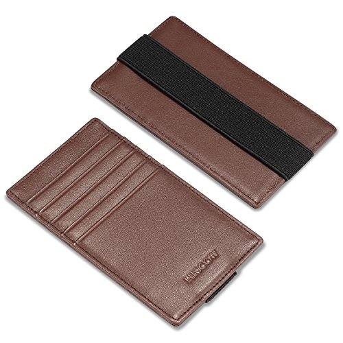 HISCOW Car Sun Visor Card Holder with Elastic Band Fastener - Italian Calfskin (Brown)