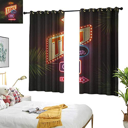 Warm Family Linen Curtains Tiki Bar,Old Fashioned Neon Signs Illustration of Open Bar Palm Tree Branches Roadside, Multicolor 84